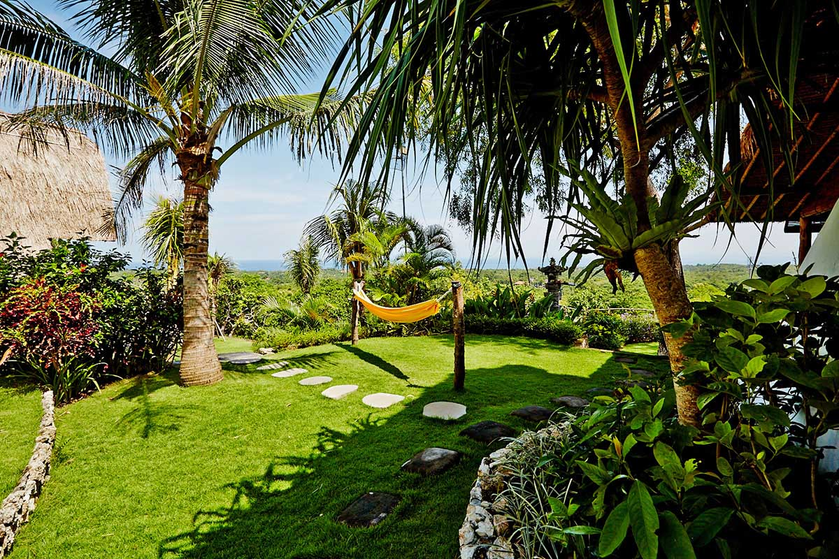 Kamafari Surfcamp Bali | Garden with view